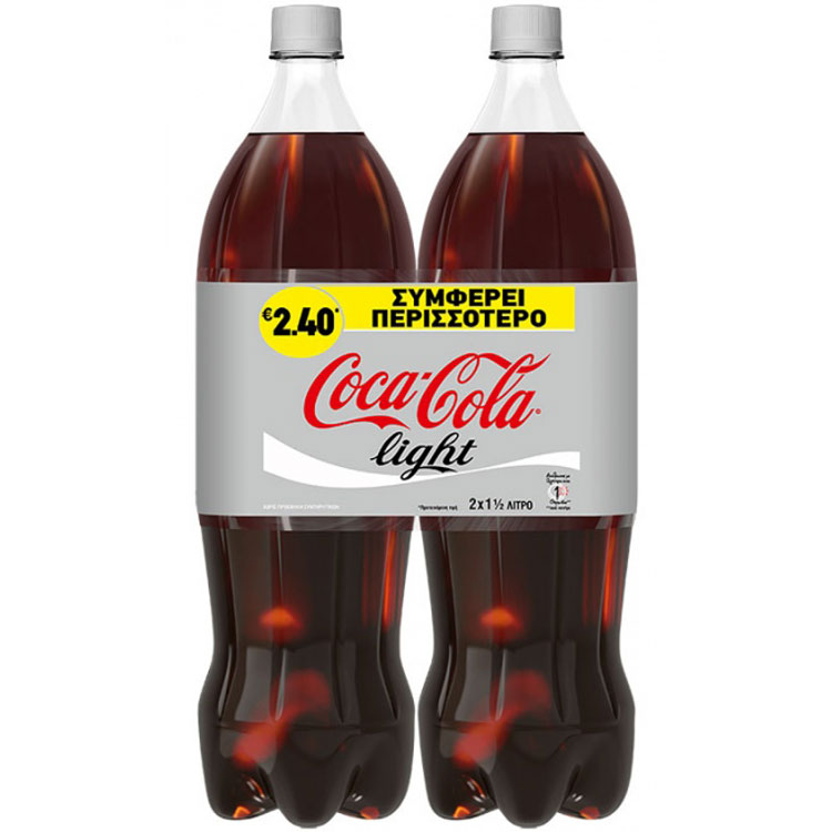 Coca-Cola Light 1,5lt 2 Tεμάχια 2,35€