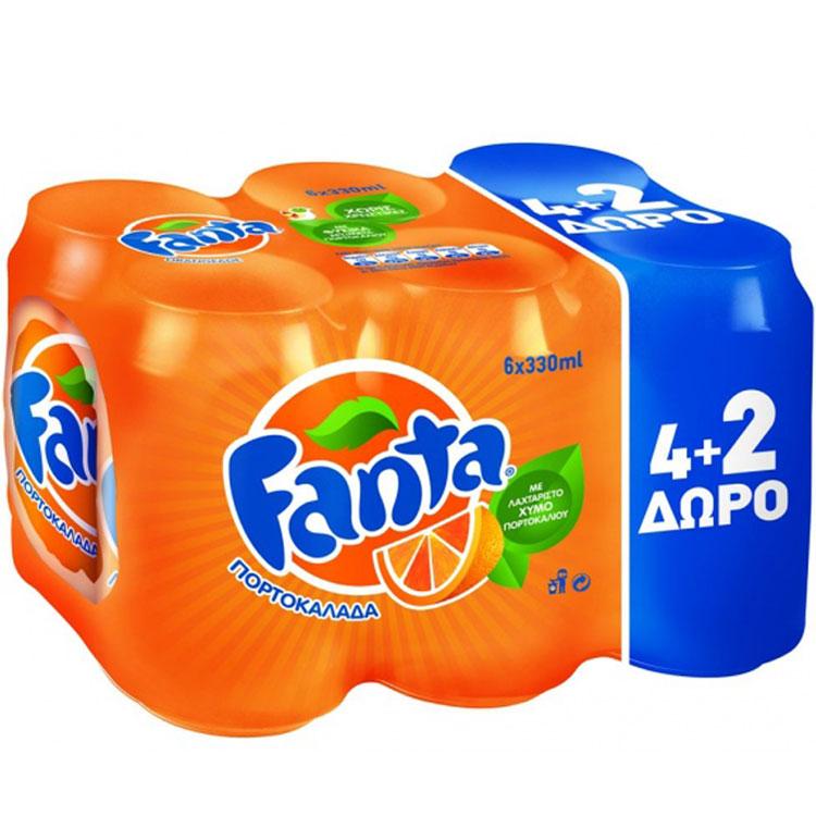 Fanta Orange 330ml 4 + 2 Δώρο