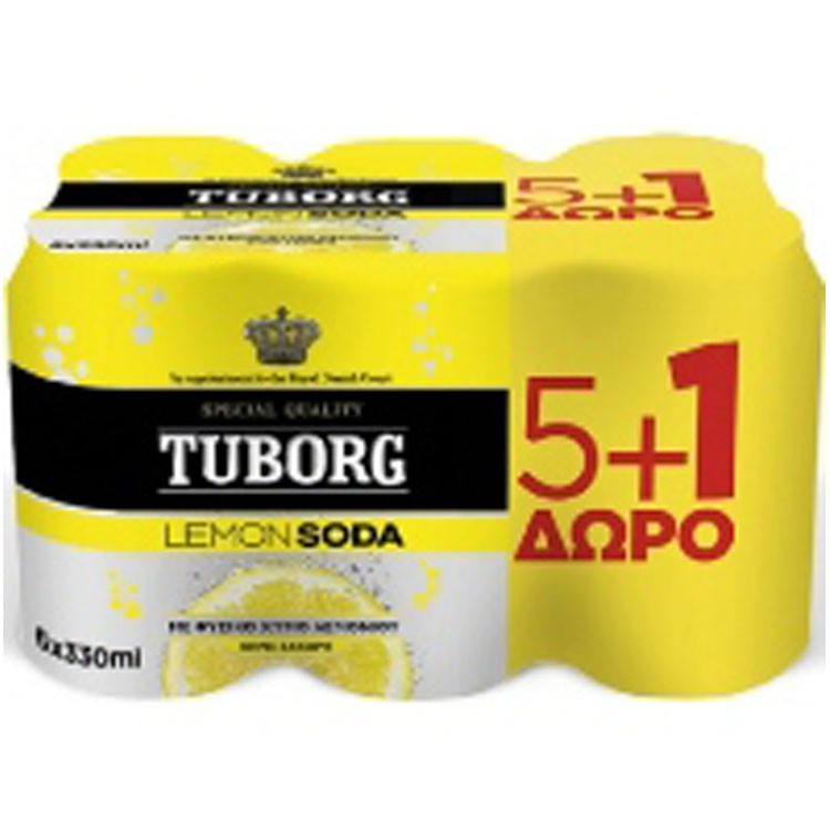 Tuborg Lemon Soda 330 ml 5+1 Δώρο